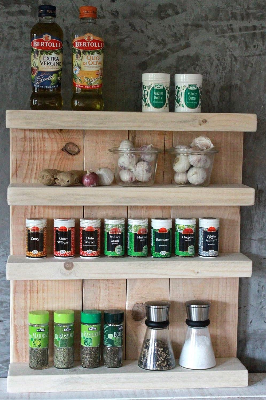 Shabby Gewürzregal Vintage Natur Gewürzhalter: Amazon.de: Küche ...