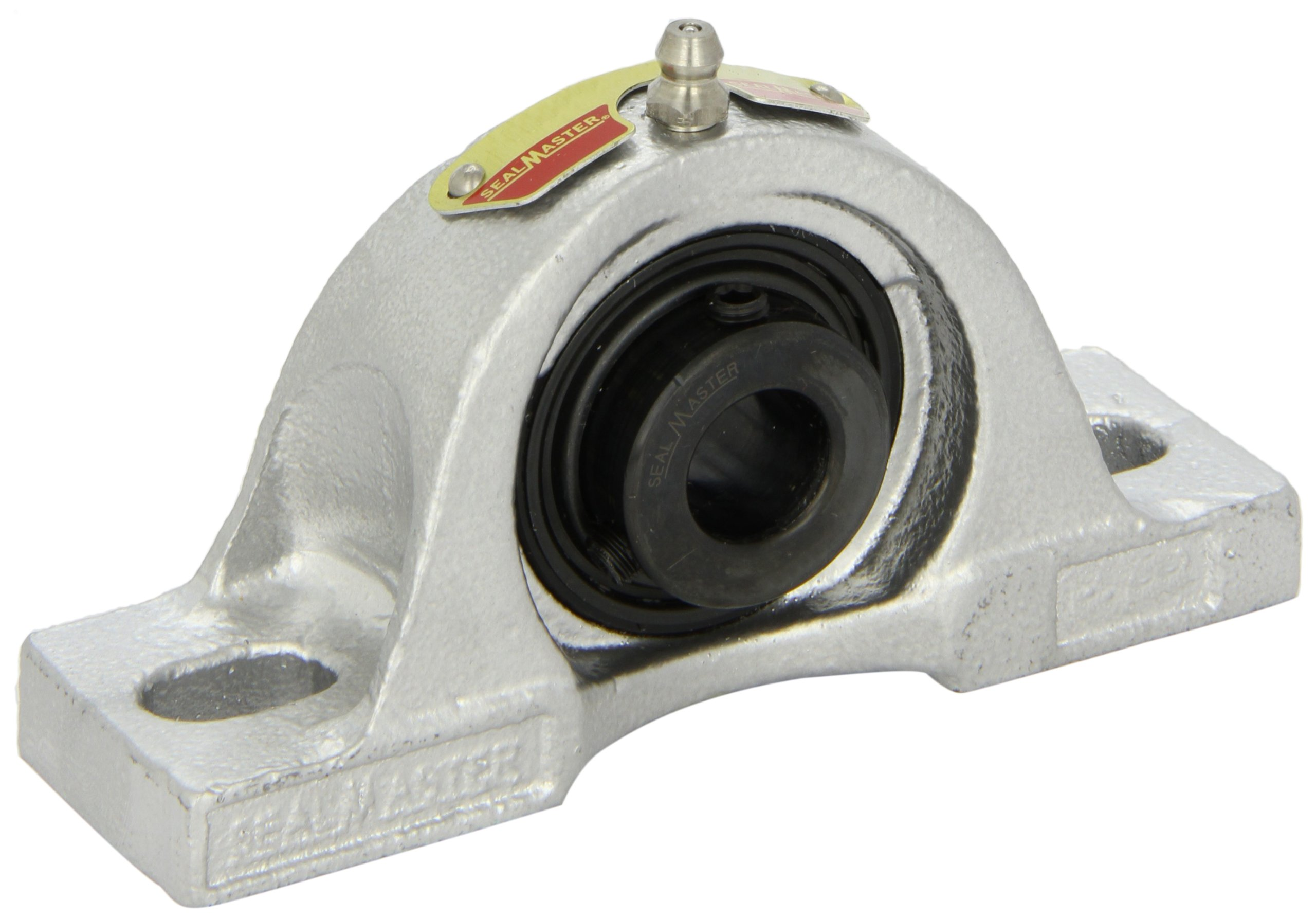 Sealmaster NP-32C CR Pillow Block Ball Bearing, Non-Expansion Type, Corrosion Resistant-Duty, Regreasable, Setscrew Locking Collar, Contact Seals, 316 Stainless Steel Housing, 2'' Bore, 2-1/2'' Base to Center Height, 6-3/4'' Bolt Hole Spacing Width
