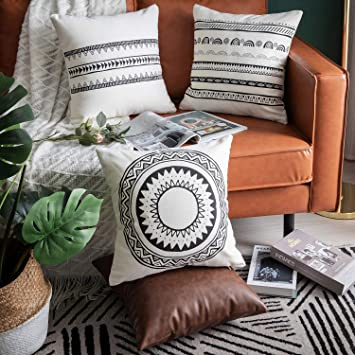 Excellent Dezene 4 Pack Boho Decorative Throw Pillow Covers For Sofa Couch Bed 18 X 18 Inch 100 Cotton Morden White Cushion Covers And Fux Leather Square Ncnpc Chair Design For Home Ncnpcorg