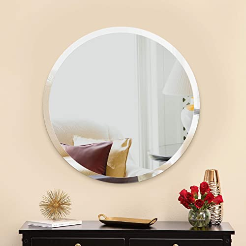MIRROR TREND Premium Large Frameless Wall Round Mirror with Streamlined 1 Inch Bevel and with Solid Wood Backing Panel for Bathroom, Vanity, Bedroom, Living Room. 28 x 28