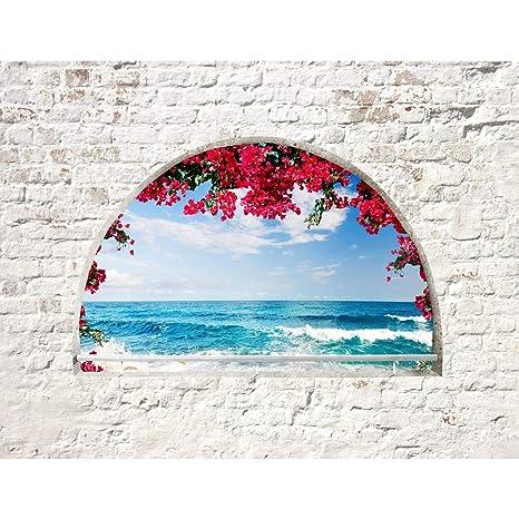 Fototapete Strand Fenster 352 x 250 cm Vlies Wand Tapete Wohnzimmer  Schlafzimmer Büro Flur Dekoration Wandbilder XXL Moderne Wanddeko - 100%  MADE IN ...