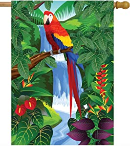 Pickako Birds Parrot Macaw Plant Flowers in The Summer Spring Tropical Forest House Flag 28 x 40 Inch, Double Sided Large Garden Yard Welcome Flags Banners for Home Lawn Patio Outdoor Decor