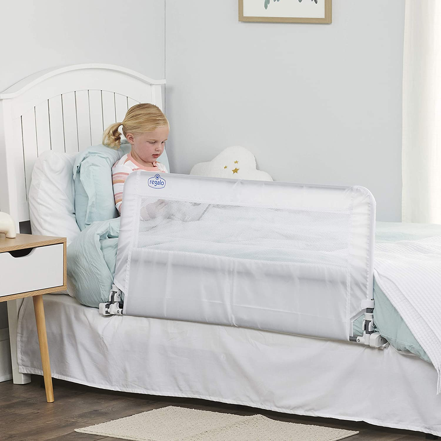54-Inch Swing Down Extra Long Bed Rail Guard with Reinforced Anchor Safety System