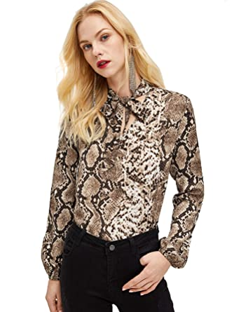 9928619384f0e WDIRARA Women s Leopard Print Tie Neck Long Sleeve with Button Blouse Top  at Amazon Women s Clothing store