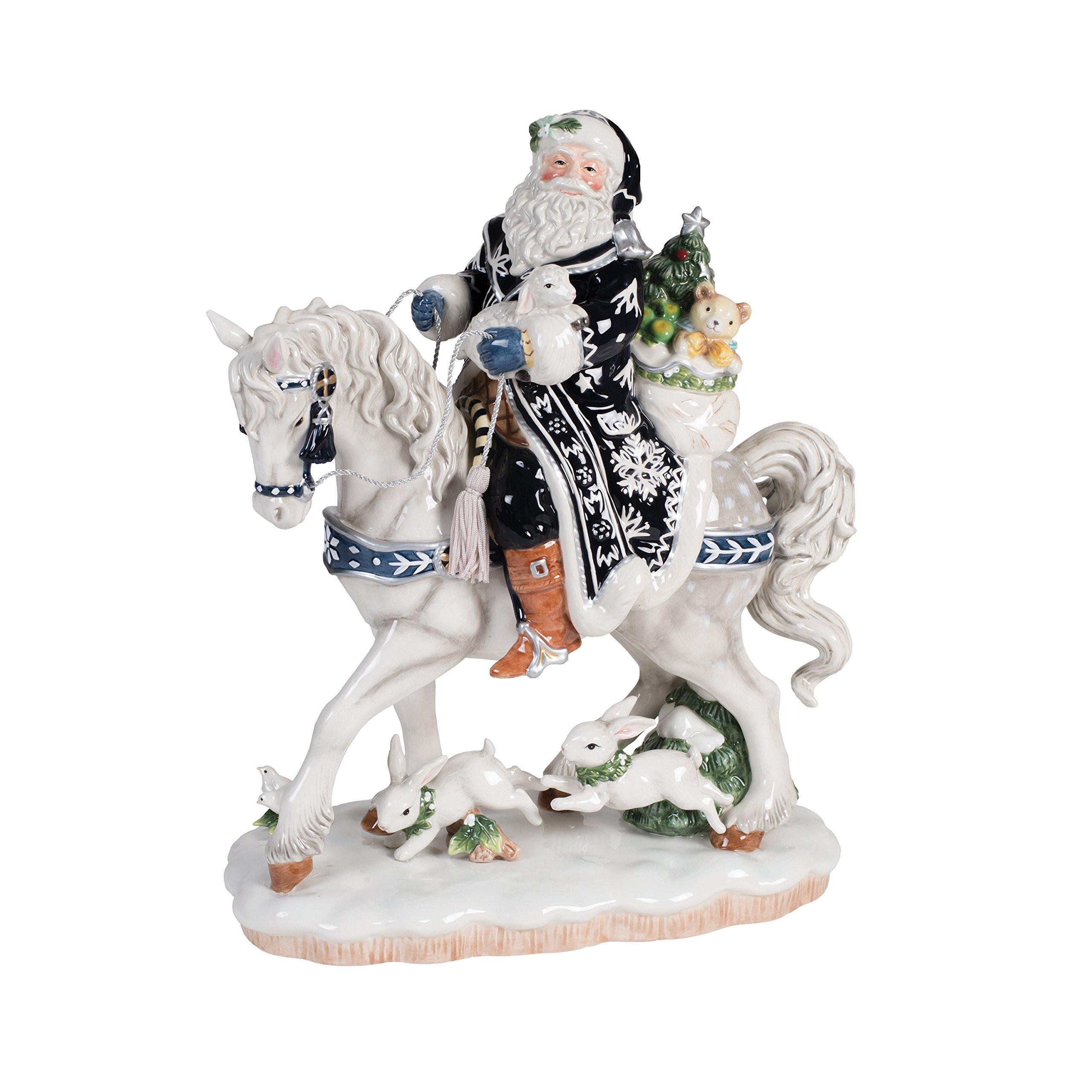 Fitz and Floyd Bristol Holiday Santa on Horse Figurine, Blue/White