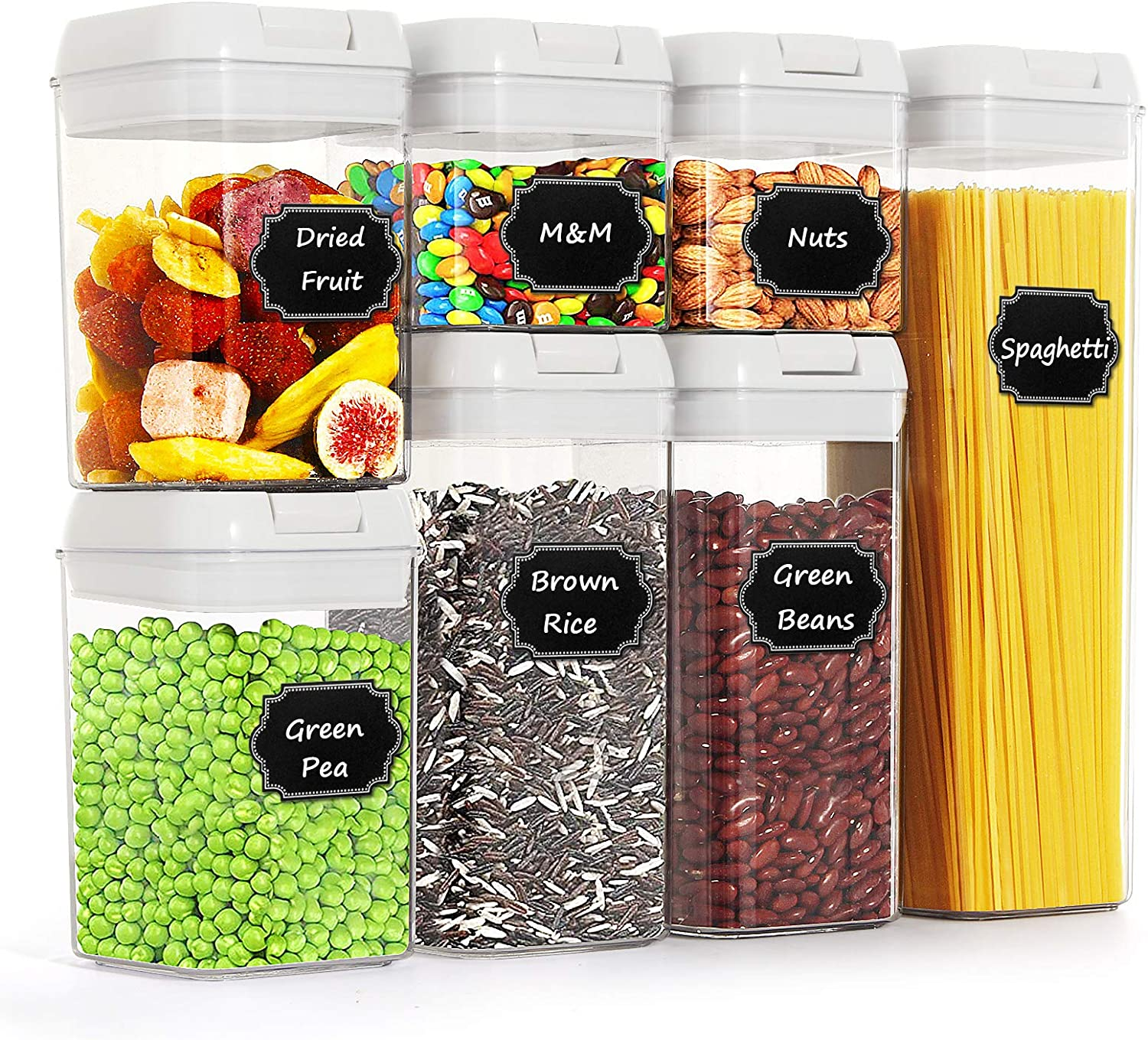 Airtight Food Storage Containers by Paincco, BPA Free White Cereal Storage Containers Set of 7 for Kitchen Pantry Organization, with 20 Labels & 1 Marker