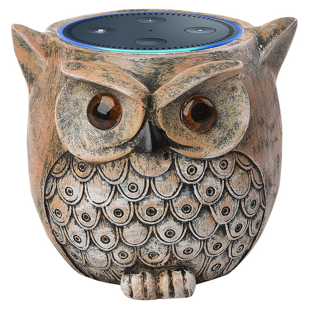 ANTS Speaker Stand Case for Amazon Echo Dot (2nd or 1st Generation). Alexa Echo Dots Owl Statue Crafted Guard Station