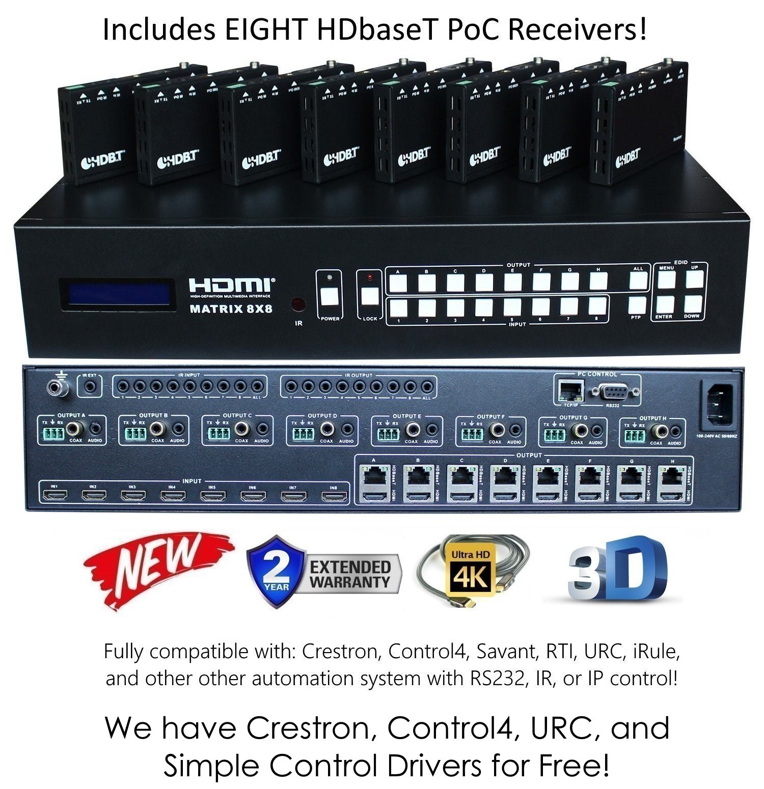 8x16 HDbaseT 4K MATRIX SWITCHER 8x8 16x16 with 8 Receivers (CAT5e or CAT6) HDMI HDCP2.2 HDTV ROUTING SELECTOR SPDIF AUDIO CRESTRON CONTROL4 SAVANT HOME AUTOMATION 4K2K