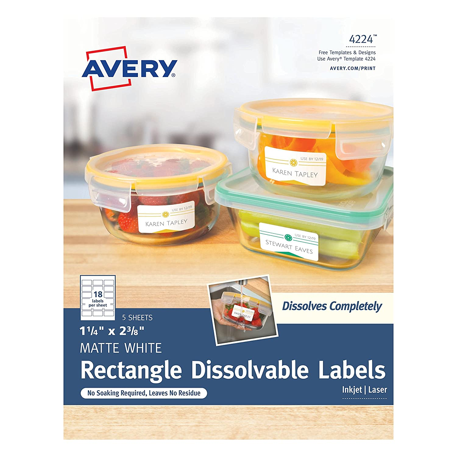 "Avery Dissolvable Rectangle Labels, 1-1/4"" x 2-3/8"", Pack of 90 (4224)"