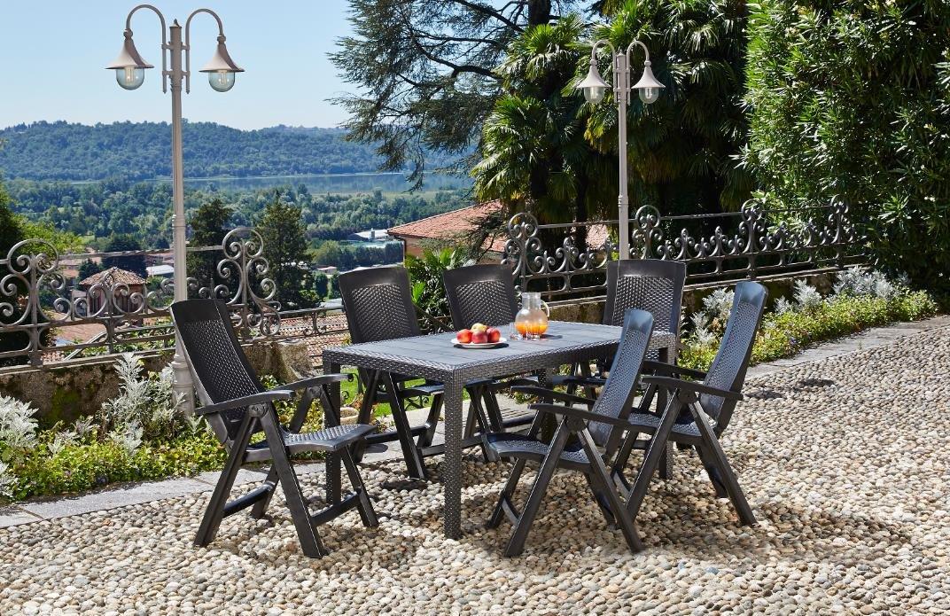 Kunststoff Gartenmöbelgruppe Ted in Rattan Optik, 6 Klappsessel und Ein Tisch, von IPAE Progarden, Made IN Europe