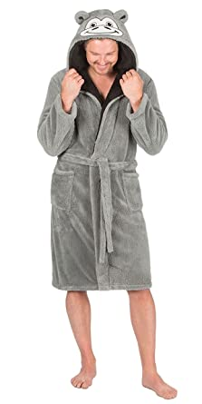 Insignia Mens Hooded Animal Snuggle Fleece Dressing Gown 2xl Grey