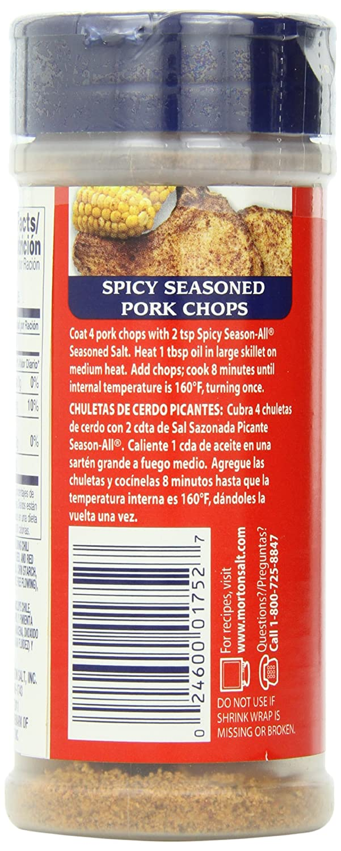 Morton Season-All Seasoned Salt, Spicy, 7.25-Ounce (Pack of 12)