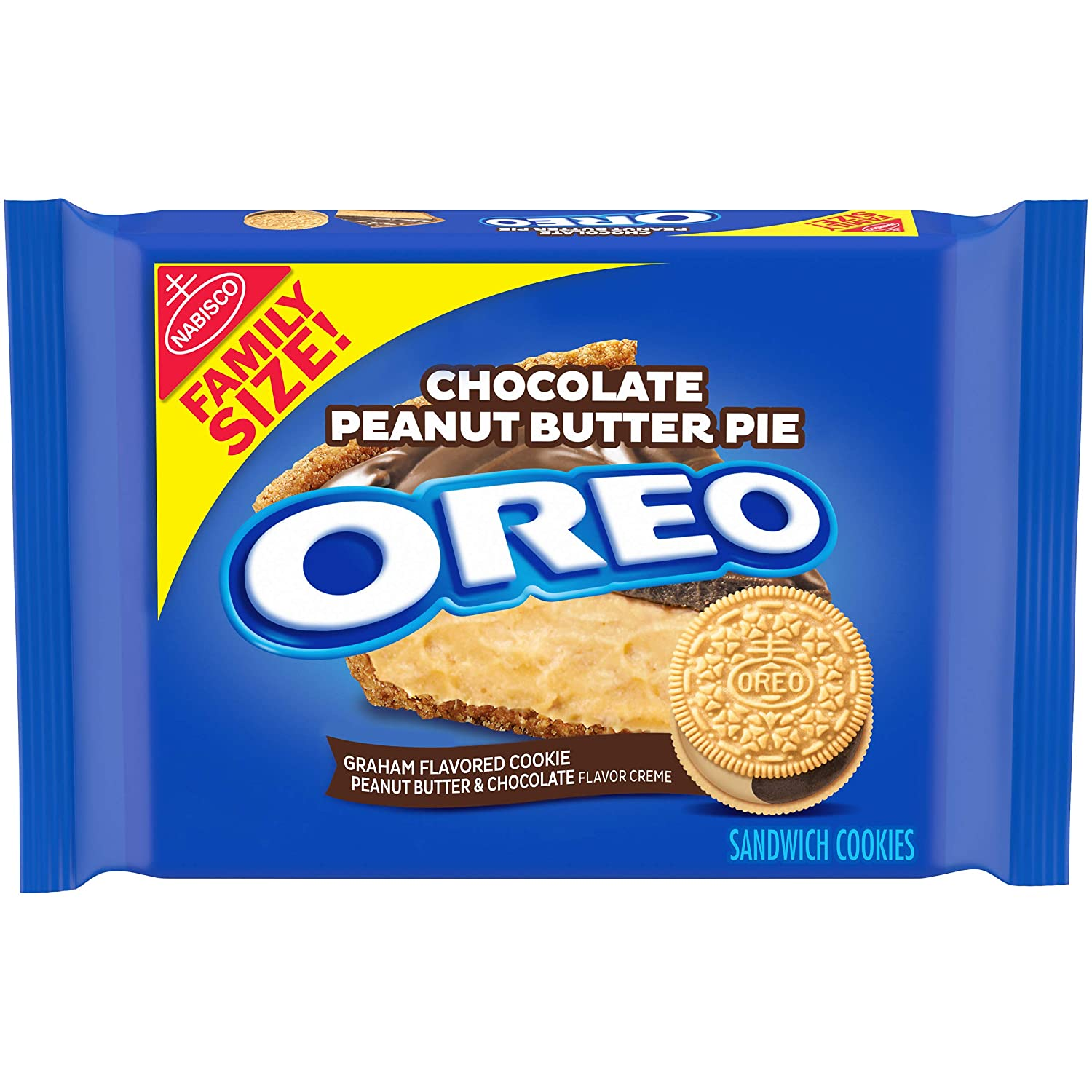 OREO Chocolate Peanut Butter Pie Sandwich Cookies, 1 - 17 oz Family Size package