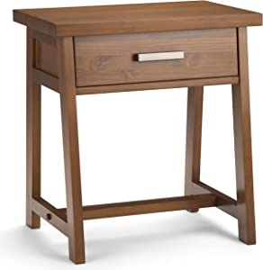 SIMPLIHOME Sawhorse SOLID WOOD 24 inch Wide Modern Industrial Bedside Nightstand Table in Medium Saddle Brown