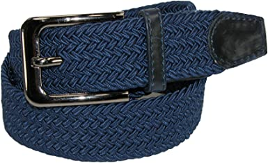 CTM Mens Elastic Braided Stretch Belt with Silver Buckle and Tan Tabs
