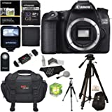 Canon EOS 70D 20.2 MP Digital SLR Camera with Dual Pixel CMOS AF Full HD 1080p Video (Body Only) + 32 GB SDHC + Tripods + Water Resistant Shock Proof Bag + Accessory Bundle