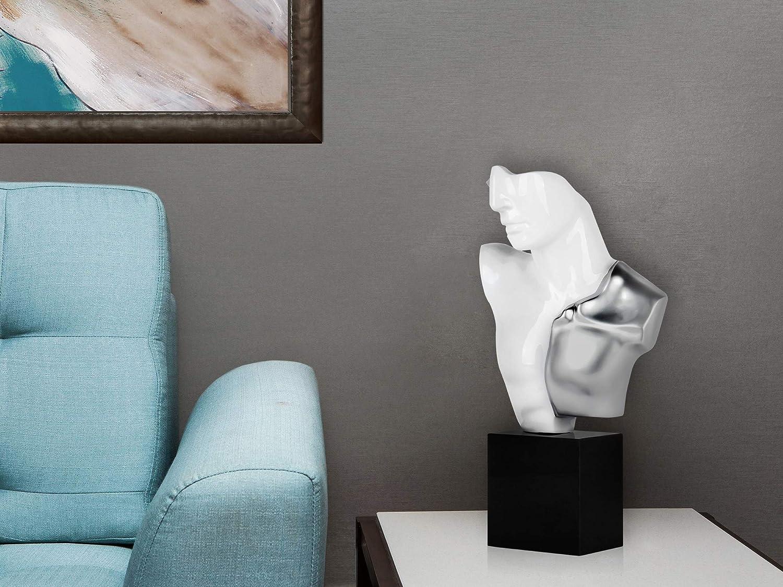 ADM Busto di Guerriero Scultura figurativa Moderna in Resina Laccata e Resina Effetto Metallo con Base in Marmo C3255EGW