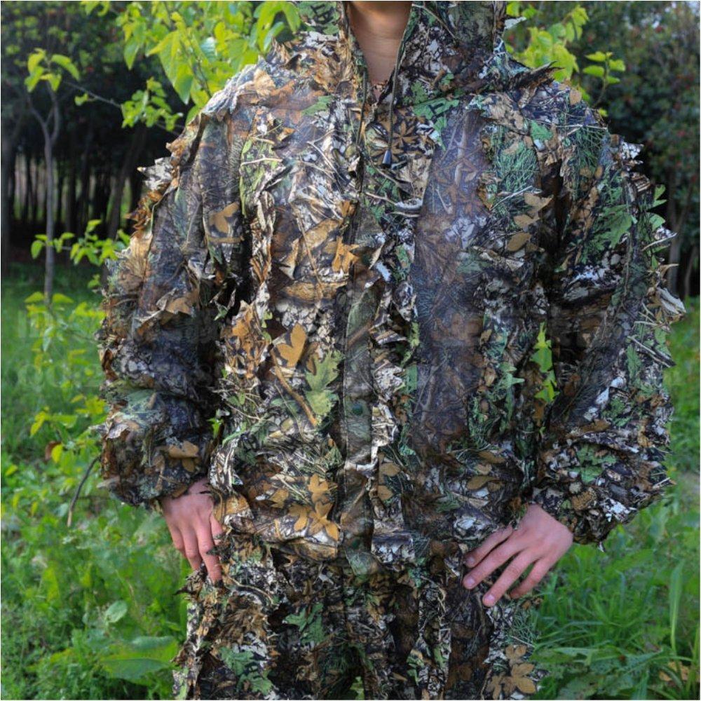 Traje de camuflaje en 3D con hojas, para caza, tiro con arco y pesca, incluye pantalón y chaqueta: Amazon.es: Deportes y aire libre