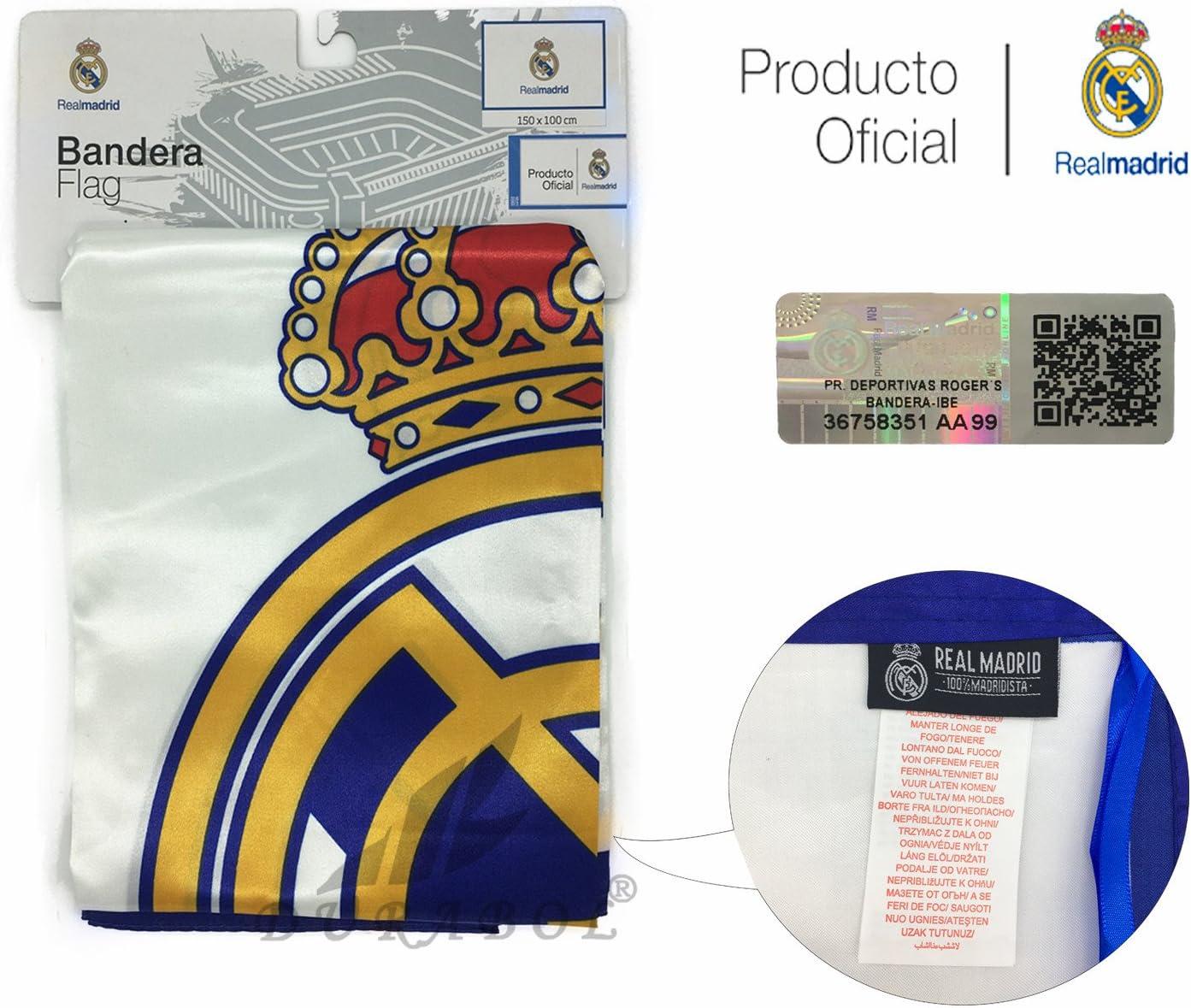Producto Oficial Real Madrid Bandera del Real Madrid 150X100CM (Escudo con Real Madrid): Amazon.es: Deportes y aire libre