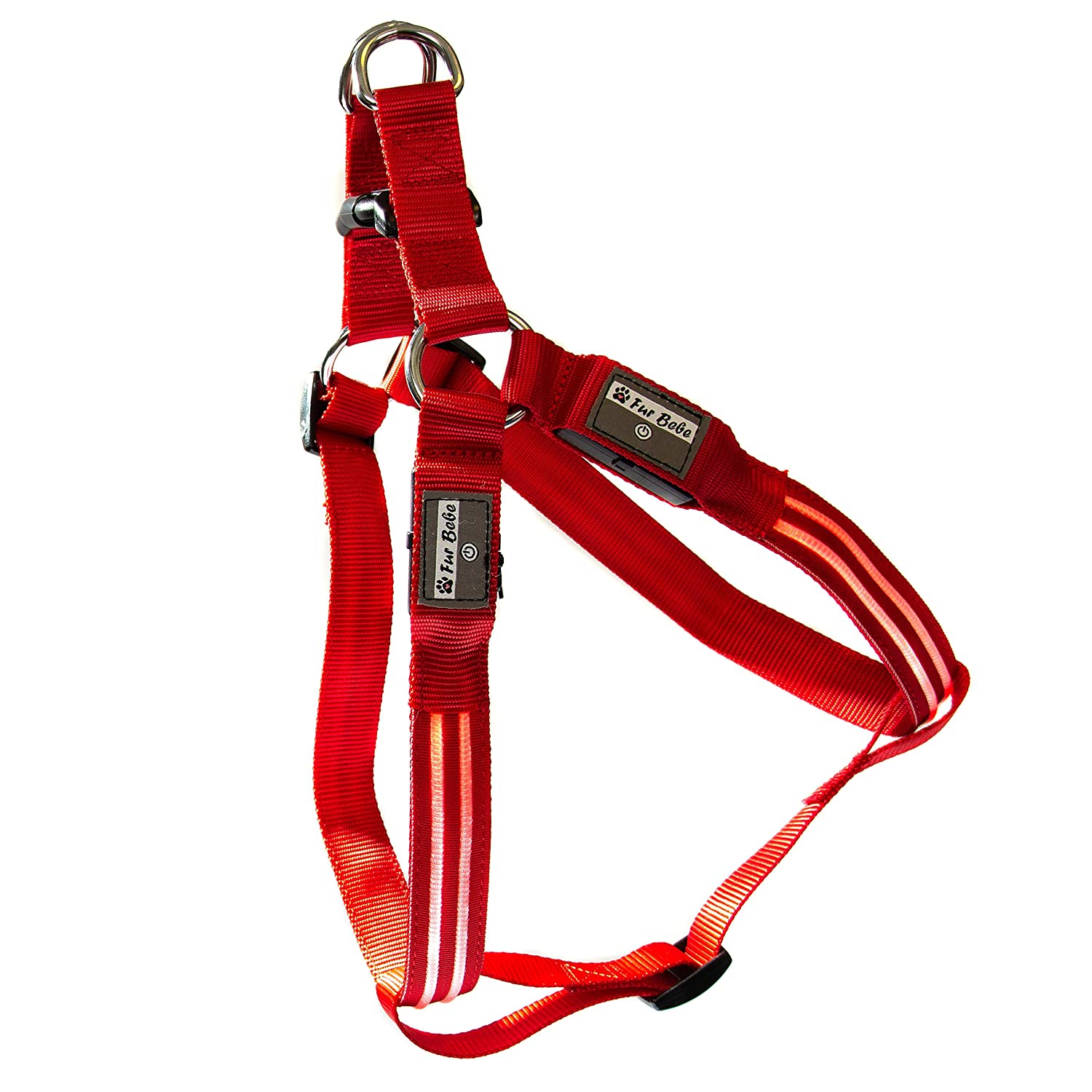 Red XLarge (60-80 cm   24-32 in) Red XLarge (60-80 cm   24-32 in) Fur Bebe  IPX7 Waterproof USB Rechargeable RXL LED Harness, Night Safety, Super Bright, Premium 3rd Gen Optical, Glow Flash Blink Mode, Dog Pet Harness (XLarge, Red)