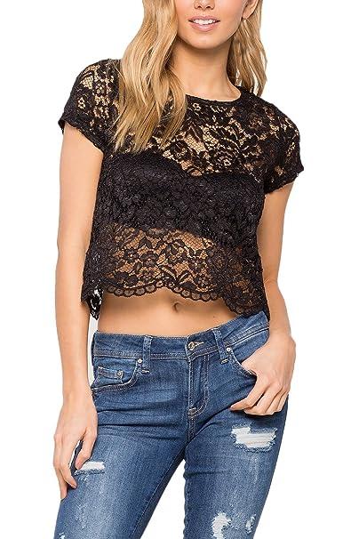 Saoye Fashion Camisetas Mujer Verano Crop Tops Encaje Croché Corto Blusas Elegantes Transparentes Camisas Vintage Slim