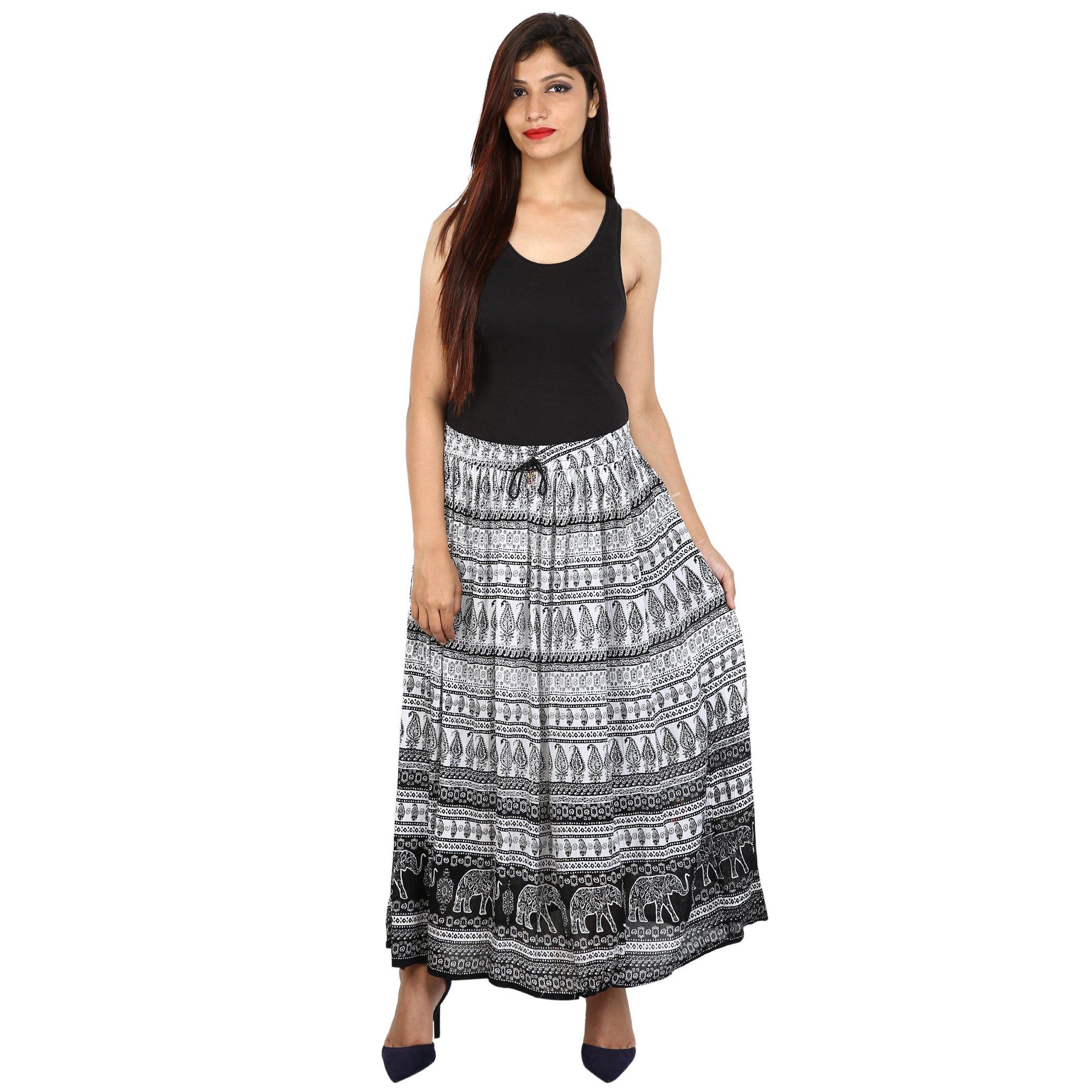 Shree Ram Impex Women's Jaipuri Rayon Skirt Ankle Length 36 Inches (Black & White)