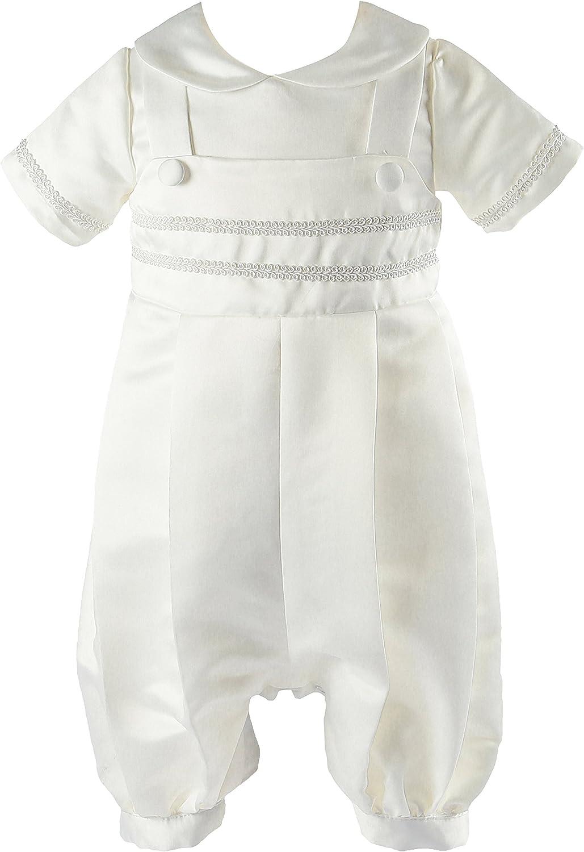 NIMBLE Newborn Infant Baby Boy Baptism Christening Short Sleeve Coverall Romper