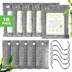 10 Pack Bamboo Charcoal Air Purifying Bags, Activated Charcoal Odor Eliminator, 5 x 200g, 5 x 75g Moisture Absorber Closet Deodorizer for Shoes, Pets, Bathroom, RVs, Basement, Car, Refrigerators