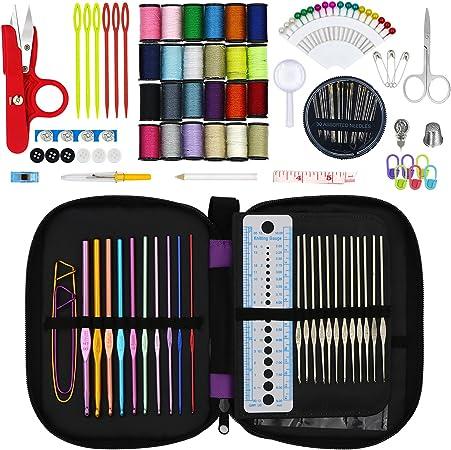 Hiveseen 132PCs Agujas de Ganchillo, Kit Accesorios con Estuche, 22 Ganchos para Tejer-(Acero Silver 0.6-1.9mm, Aluminio de Colores 2.0-6.5mm), Herramientas Crochet Para Dama, Pro, Principiante: Amazon.es: Hogar