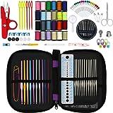 Hiveseen 132PCs Agujas de Ganchillo, Kit Accesorios con Estuche, 22 Ganchos para Tejer-(Acero Silver 0.6-1.9mm, Aluminio de Colores 2.0-6.5mm), Herramientas Crochet Para Dama, Pro, Principiante