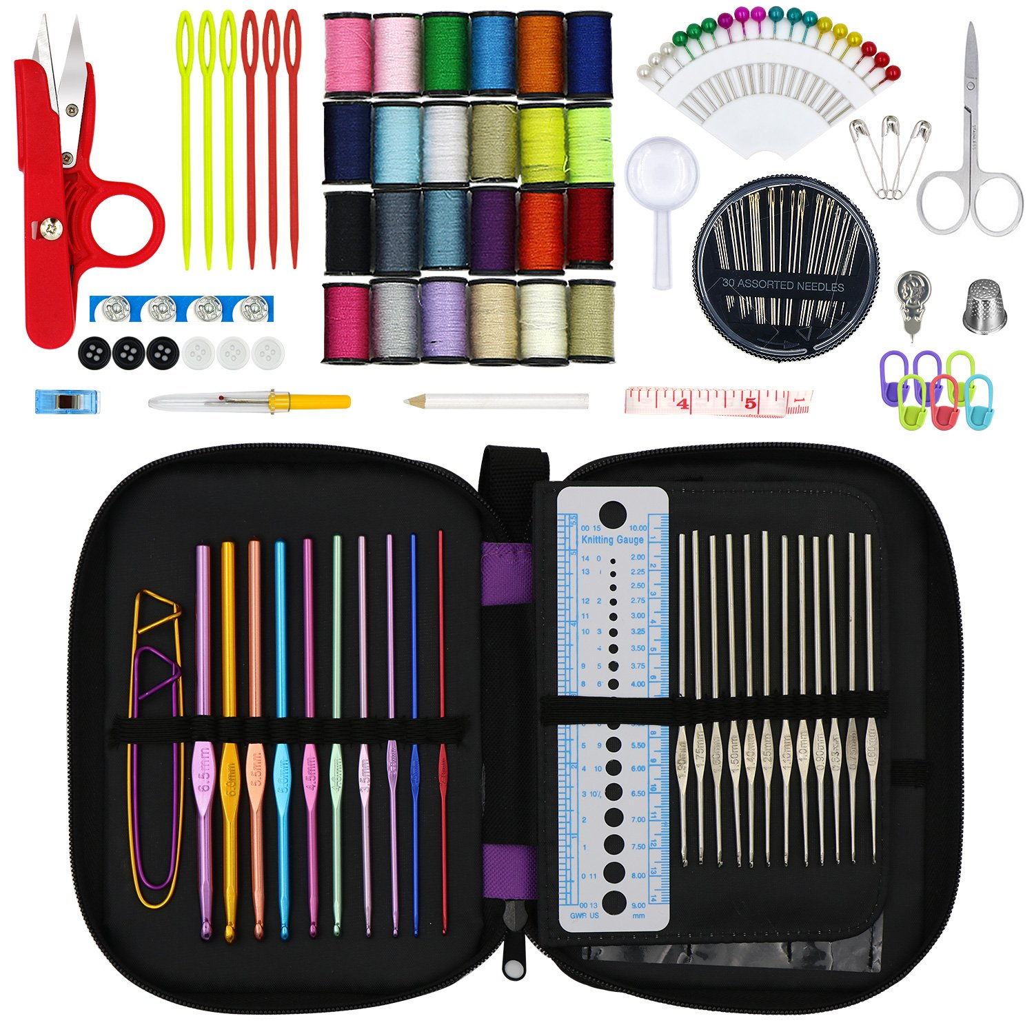 Hiveseen 132PCs Crochet Hooks Set, Complete Accessories with Case, Different Size Knitting Needles-(Metal 0.6-1.9mm , Coloured Aluminium 2.0-6.5mm), Sew Weave Craft Tool for Beginner and Professional Yunguihui