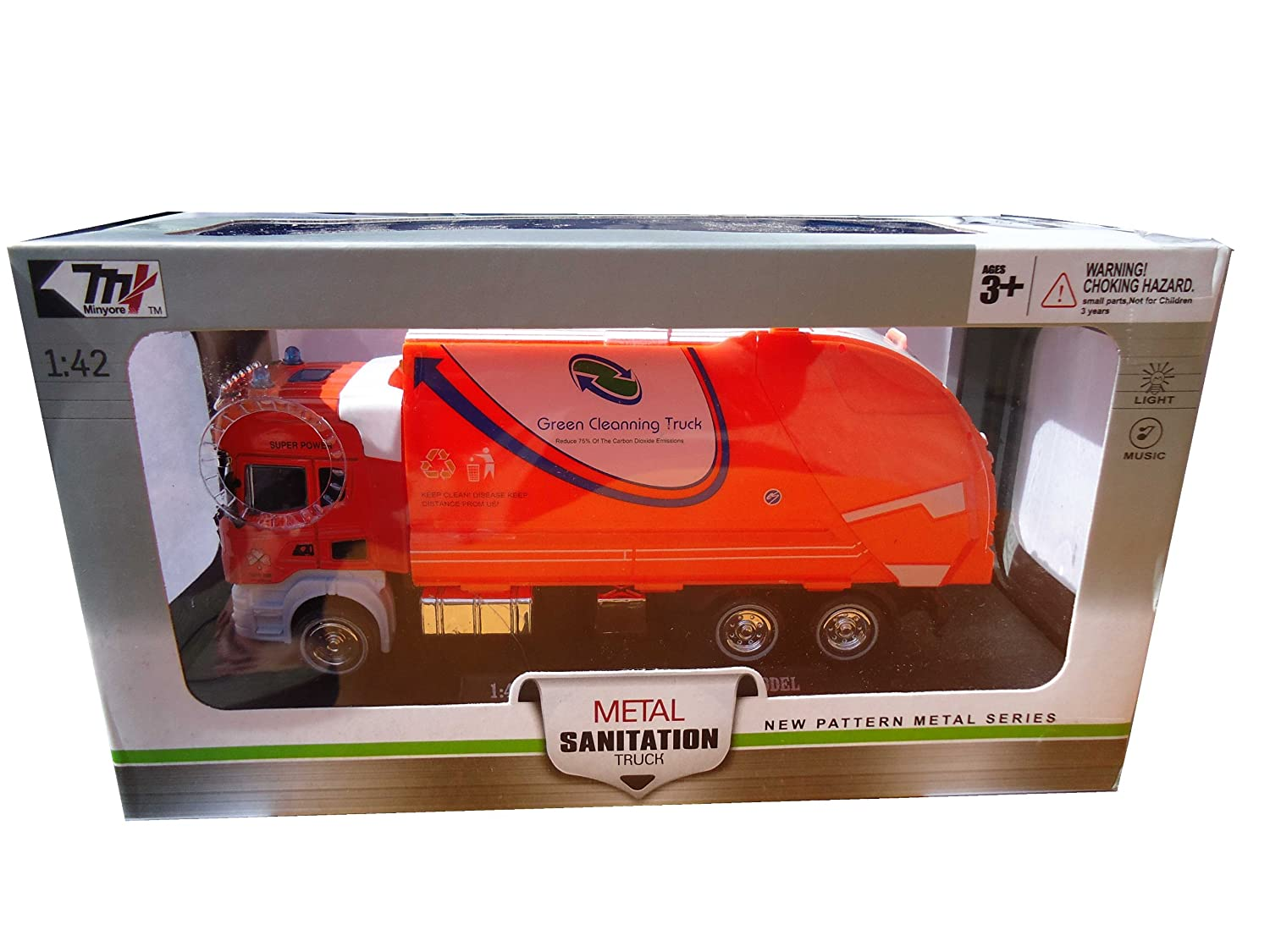 Garbage Truck with Light and Sound Scale 1:42 Metal Sanitation Truck anek