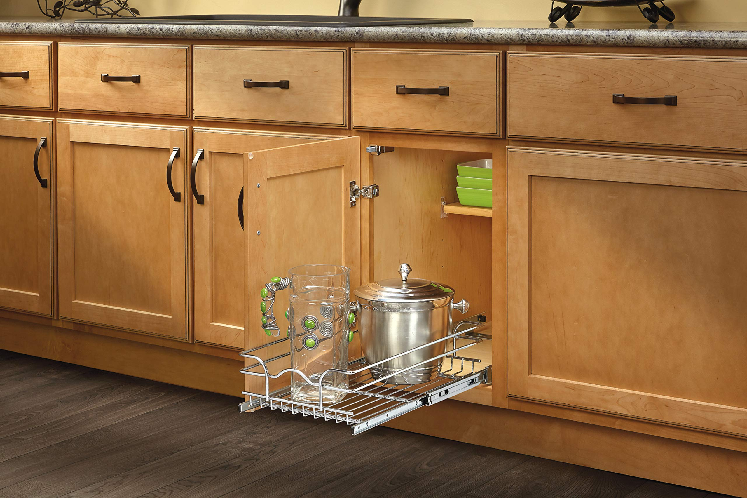 Rev-A-Shelf - 5WB1-1222-CR - 11 3/8 in. W x 22 in. D Base Cabinet Pull-Out Chrome Wire Basket by Rev-A-Shelf (Image #4)
