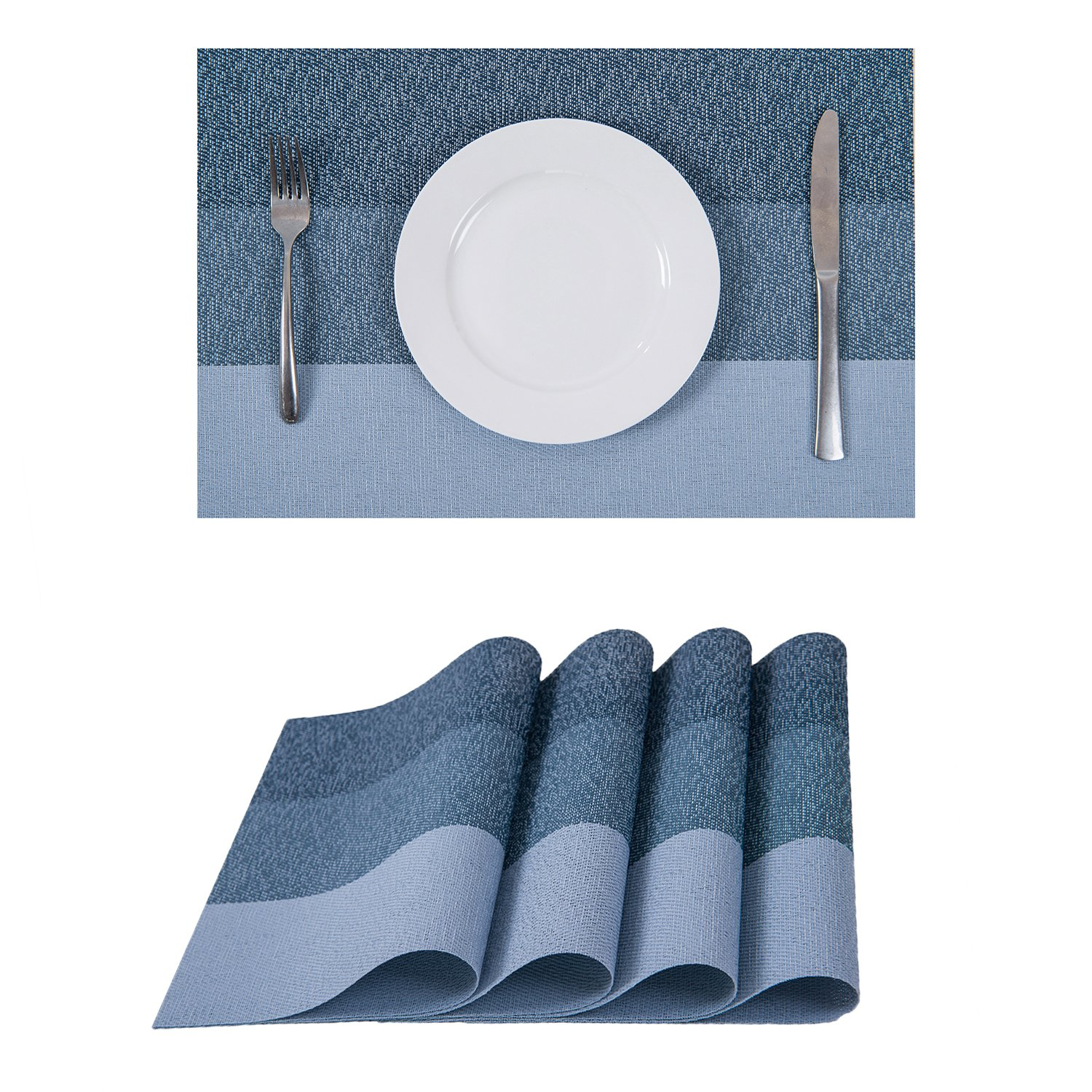 (Style5:sky) - Set of 4 Placemats,Heat-resistant Placemats Stain Resistant Washable PVC Table Mats(Sky)  Style5:sky B074LJ4DHC