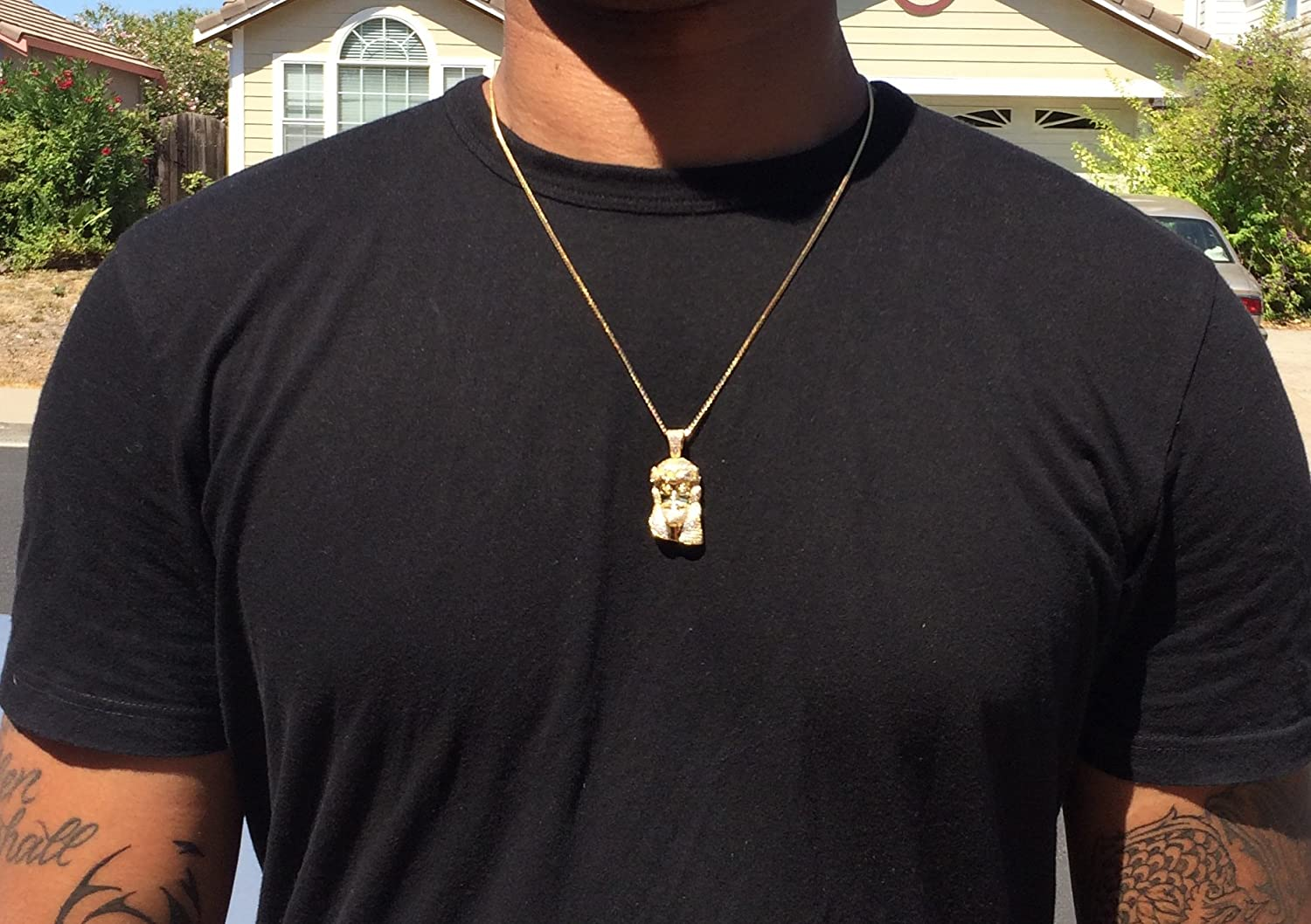Amazon mens mini gold jesus piece chain necklace jewelry aloadofball Image collections