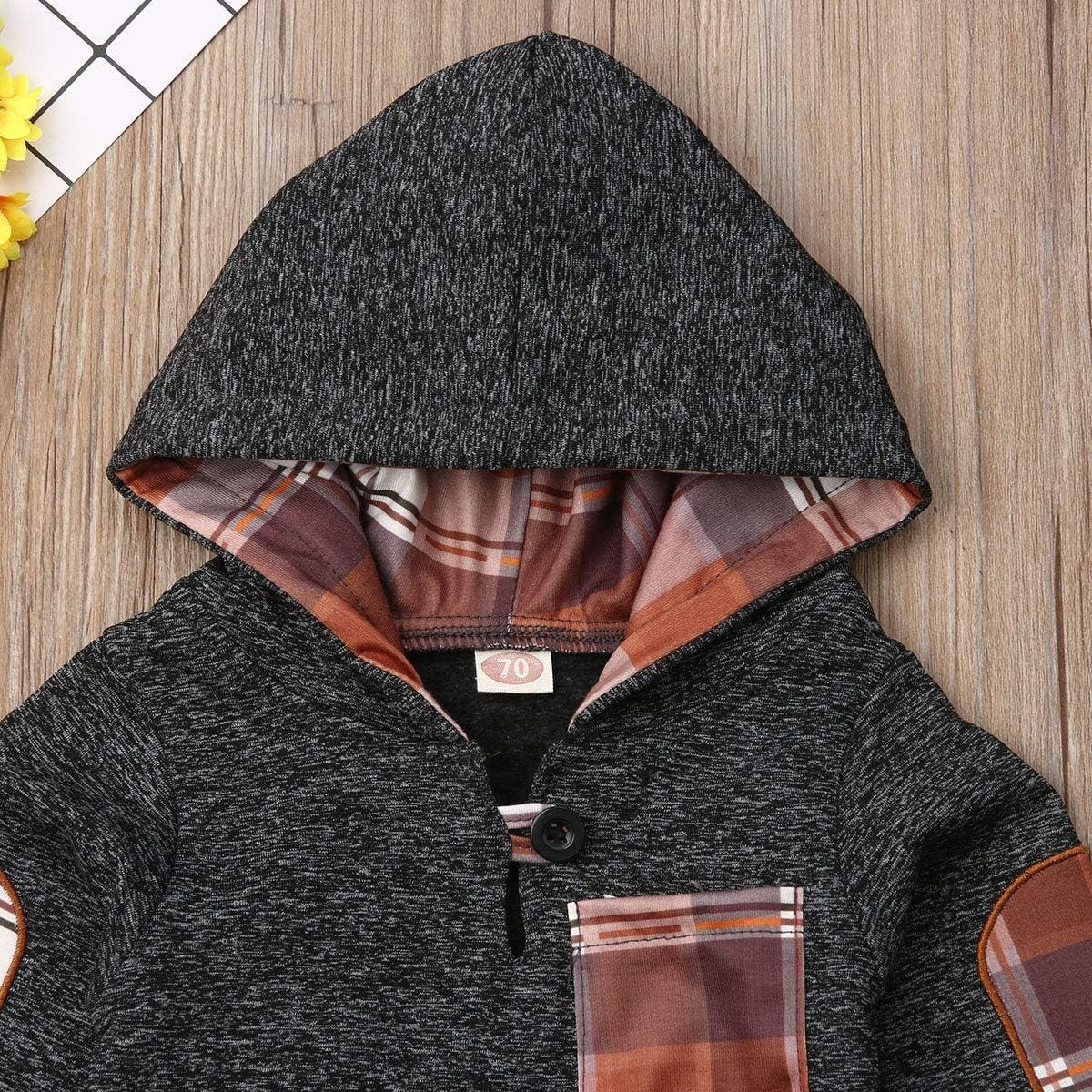 2Pcs Baby Boys Hoodie Tops Pants Set Dinosaur Deer Print Sweatsuit Fall Winter Outfits