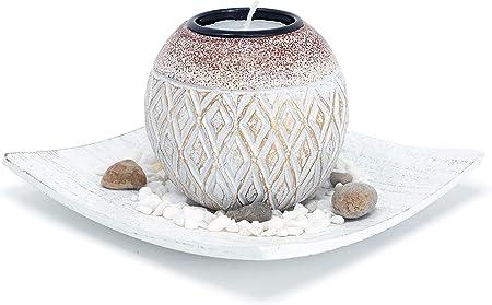 Soporte para velas de té con diseño de rombos de madera, incluye cuenco decorativo y piedras. Perfec