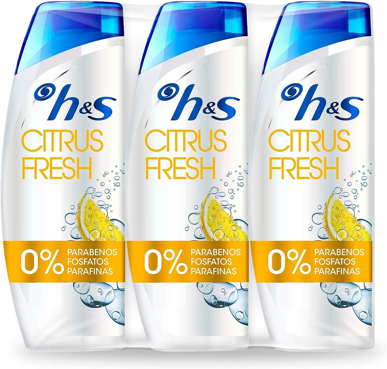 H&S Citrus Fresh Anticaspa Champú para el cabello graso, para hombre y mujer, producto para cabello - 3 x 540 ml