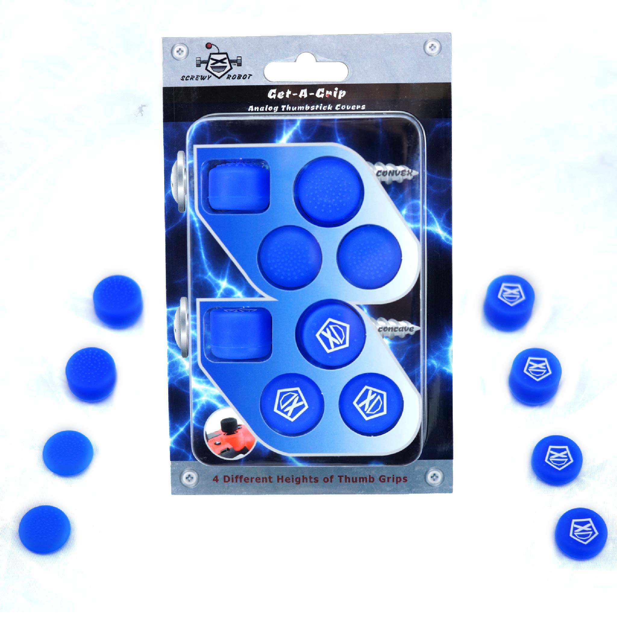 Get-A-Grip Analog Thumbstick Grip Covers for PS4/PS3 by ScrewyRobot (Blue) by ScrewyRobot