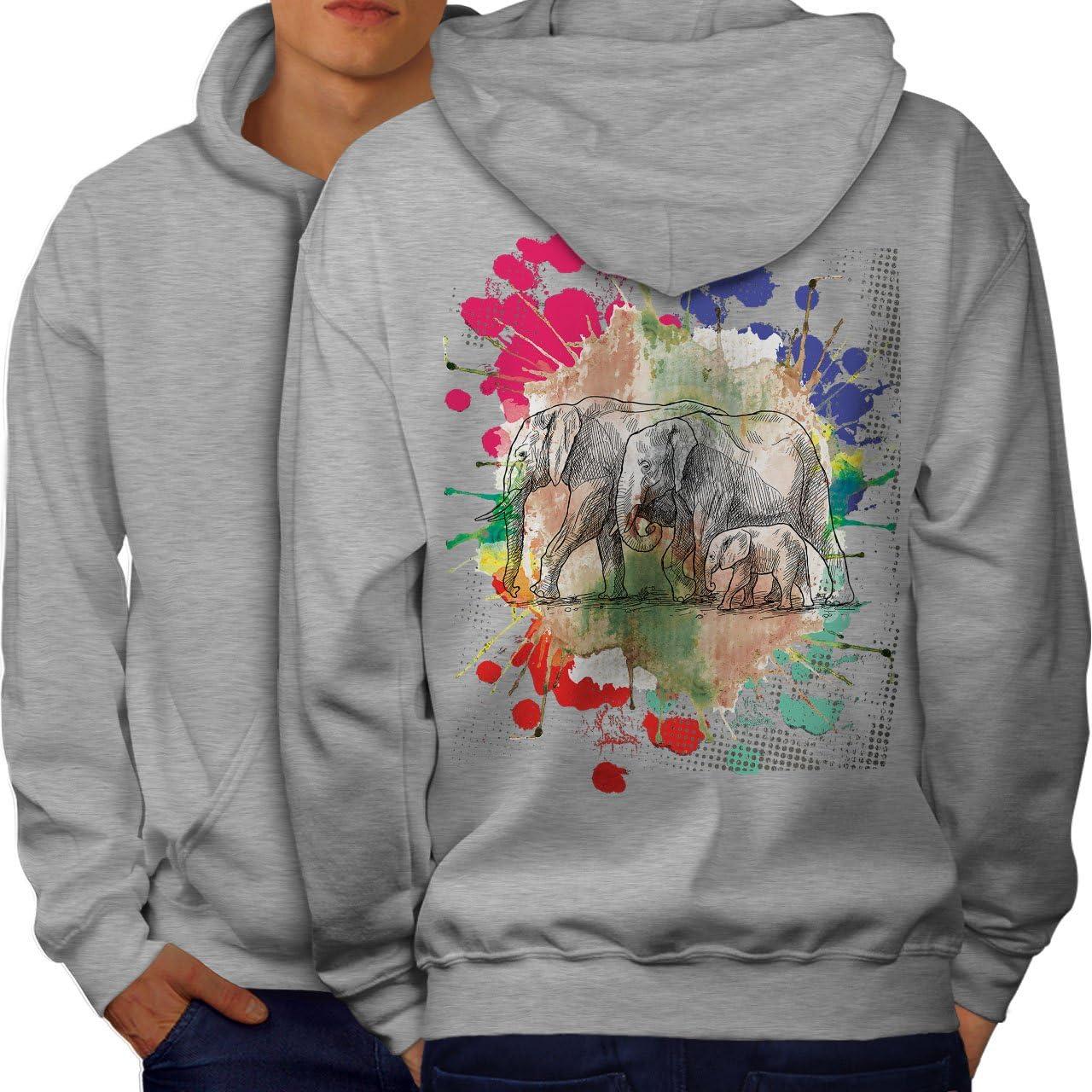 Animals Casual Hooded Sweatshirt Wellcoda Elephant Family Mens Hoodie
