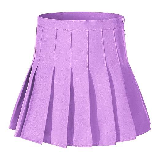 Women High Waist Solid Pleated Mini Slim Single Tennis Skirts ( S, Purple)