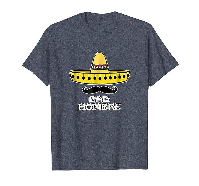 Mens Bad Hombre Mexican Sombrero Mustache T-Shirt 2XL Heather Blue