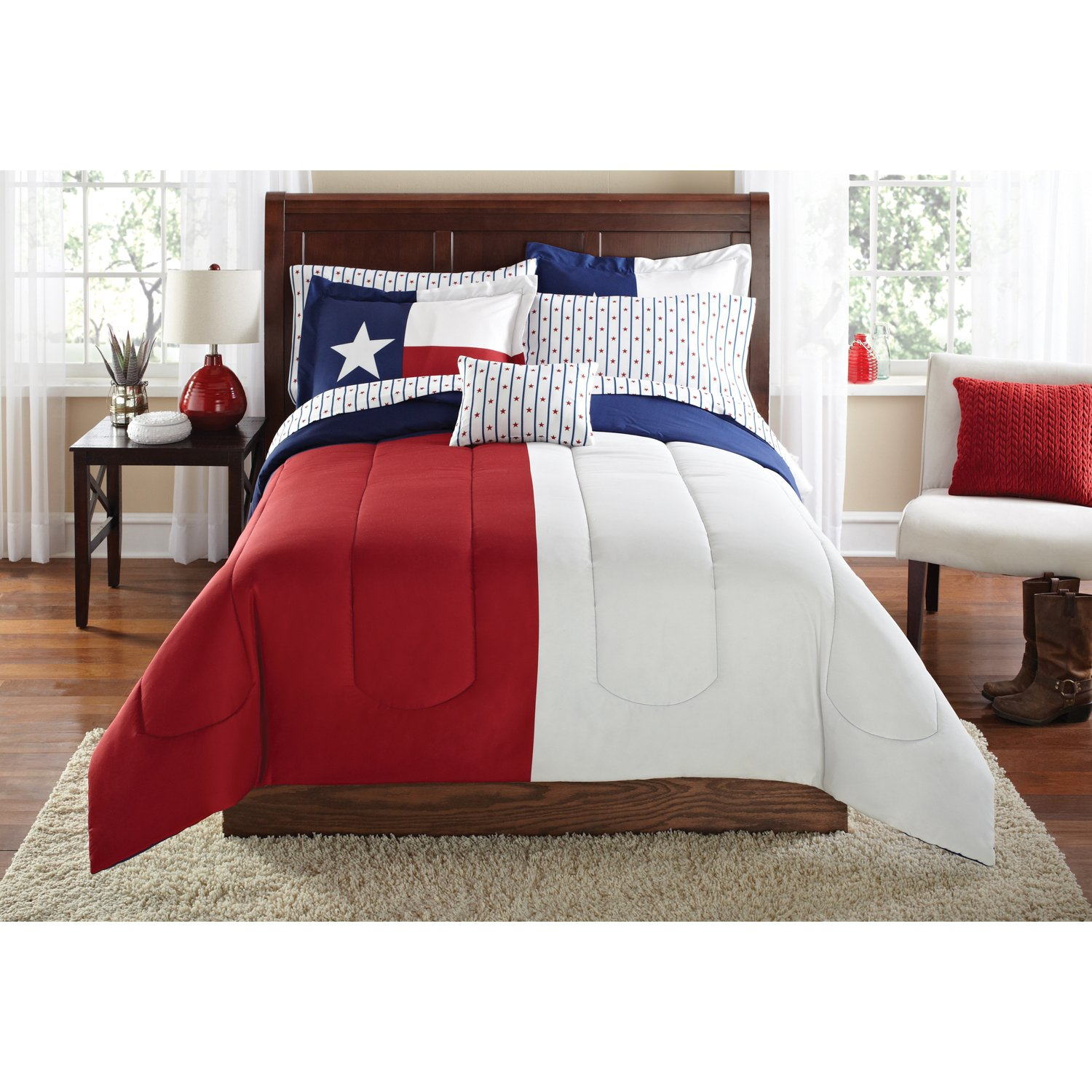 N2 8 Piece Blue Red White American Themed Comforter King Set, Patriotic Texas Bedding Texan Flag Pattern Patriot Colors Country Cowboy Western America, Polyester Microfiber