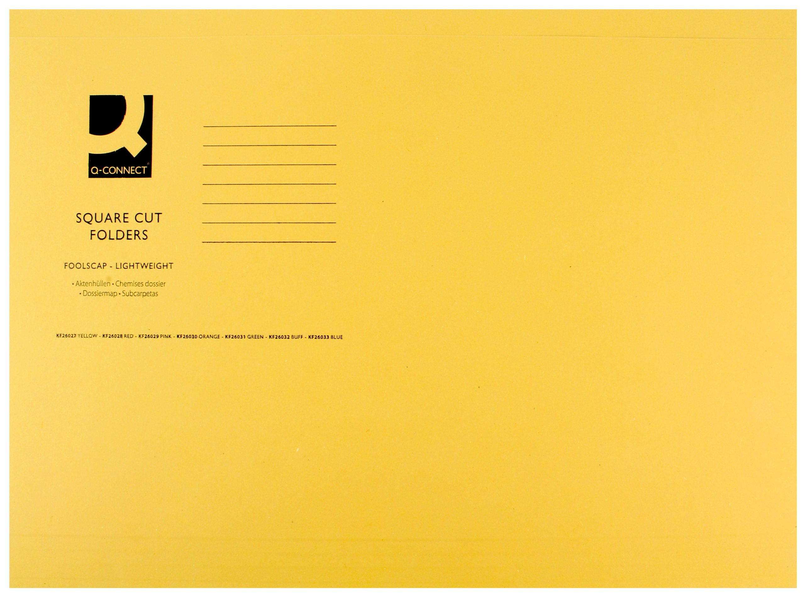 Q Connect Light Weight 180gsm Foolscap Square Cut Folder - Yellow
