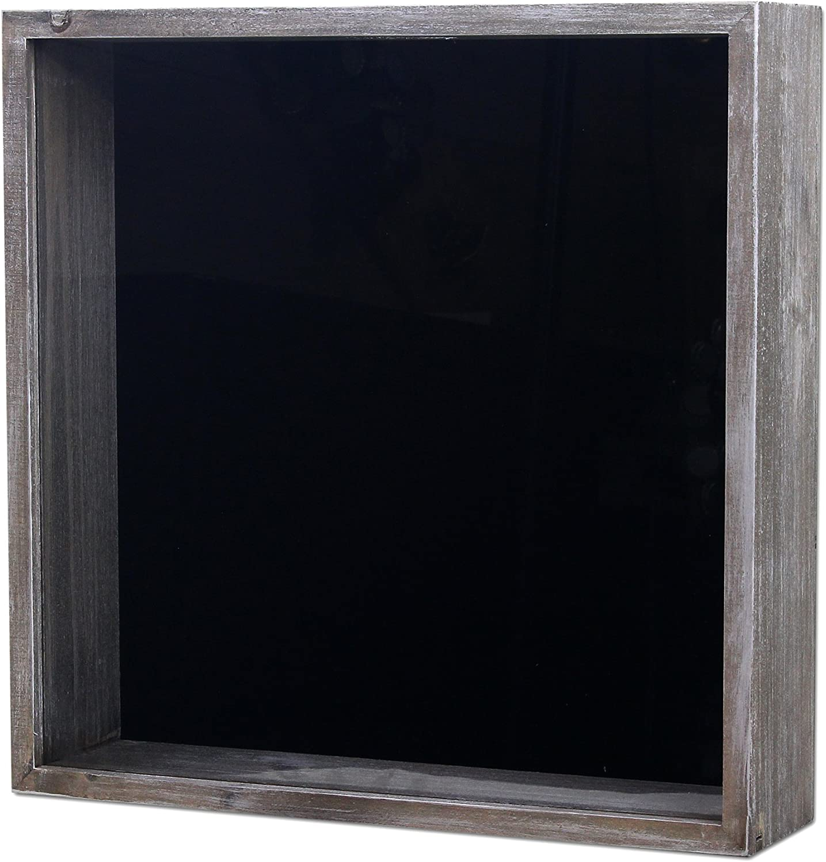 Wooden Shoe Designs Top Loading Shadow Box 12.25 x 12.25 x 3.15 (External) 11.25 x 11.25 x 2.5 (Internal) Scrapbook, Wine Corks, Beer Caps, Shells, Ticket Stubs, Collections, Wall Hanging (Grey)