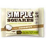SIMPLE Squares Treats - Organic Nut and Honey Bar Cookies - Yummy with Breakfast and with Coffee - no sugary dates! - (1.6 oz bars) (Coconut Nuts & Honey, 12-pack)