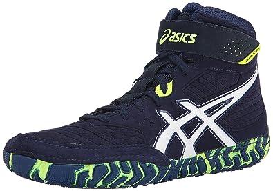 Zapatillas de lucha Aggressor 2 para hombres, EST Azul / Blanco / Amarillo intermitente, 10 M US