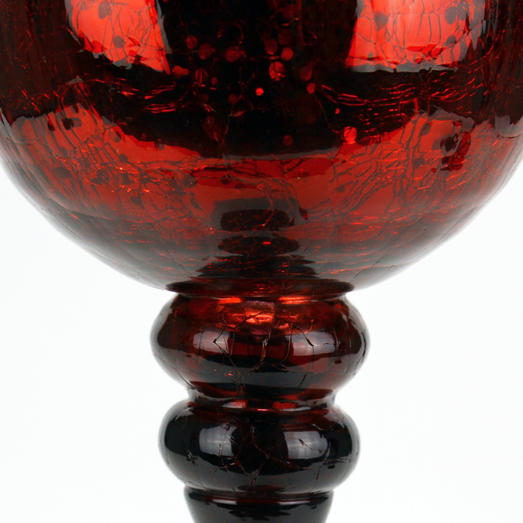 CYS EXCEL Mercury Red Crackle Glass Candle Holder, Long Stem Candle Holder, Set of 3 (12'', 14'', 16'') (Red Crackle) by CYS EXCEL (Image #3)