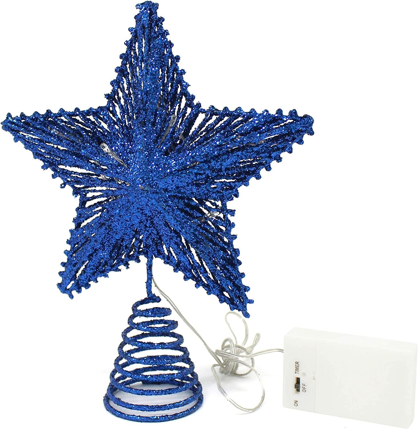 CVHOMEDECO. Blue Glittered 3D Tree Top Star with Warm White LED Lights and Timer for Christmas Tree Decoration and Holiday Seasonal Décor, 8 x 10 Inch