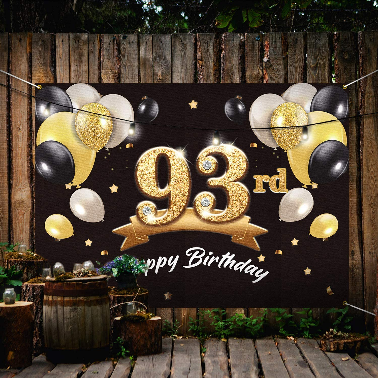 PAKBOOM Happy 93rd Birthday Banner Backdrop 93 Birthday Party Decorations Supplies for Men Black Gold 4 x 6ft